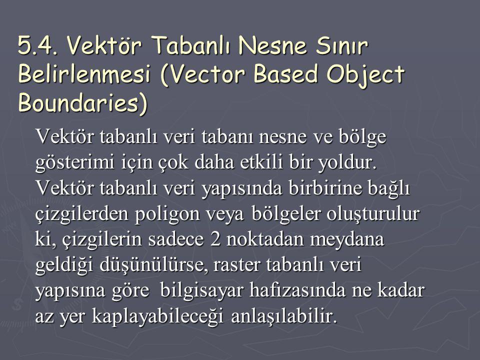 5.4. Vektör Tabanlı Nesne Sınır Belirlenmesi (Vector Based Object Boundaries) Vektör tabanlı veri tabanı nesne ve bölge gösterimi için çok daha etkili