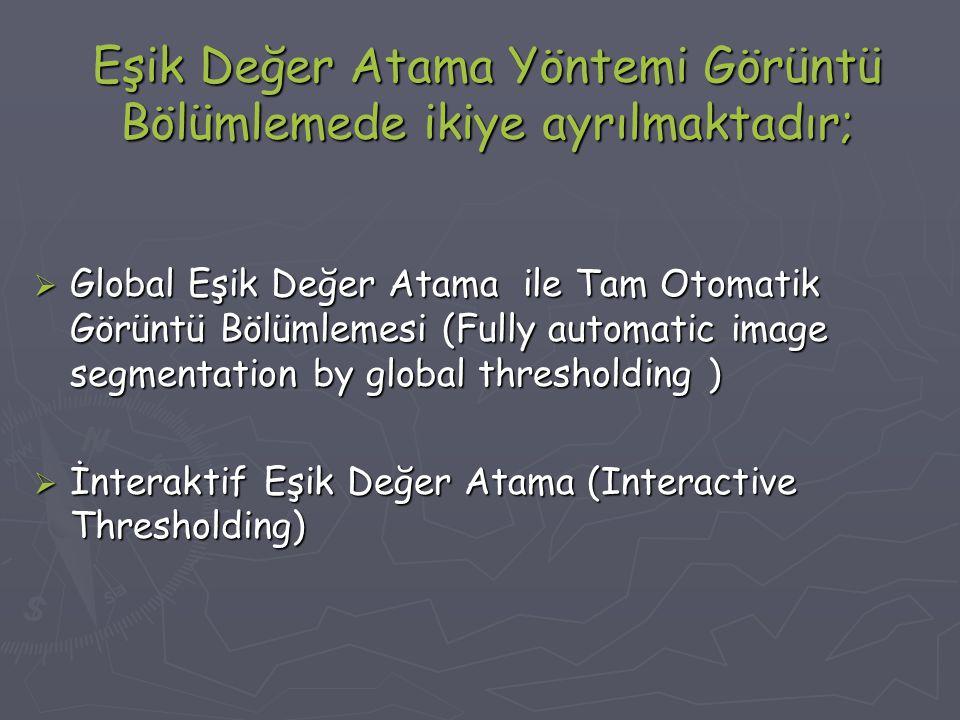 Eşik Değer Atama Yöntemi Görüntü Bölümlemede ikiye ayrılmaktadır;  Global Eşik Değer Atama ile Tam Otomatik Görüntü Bölümlemesi (Fully automatic image segmentation by global thresholding )  İnteraktif Eşik Değer Atama (Interactive Thresholding)