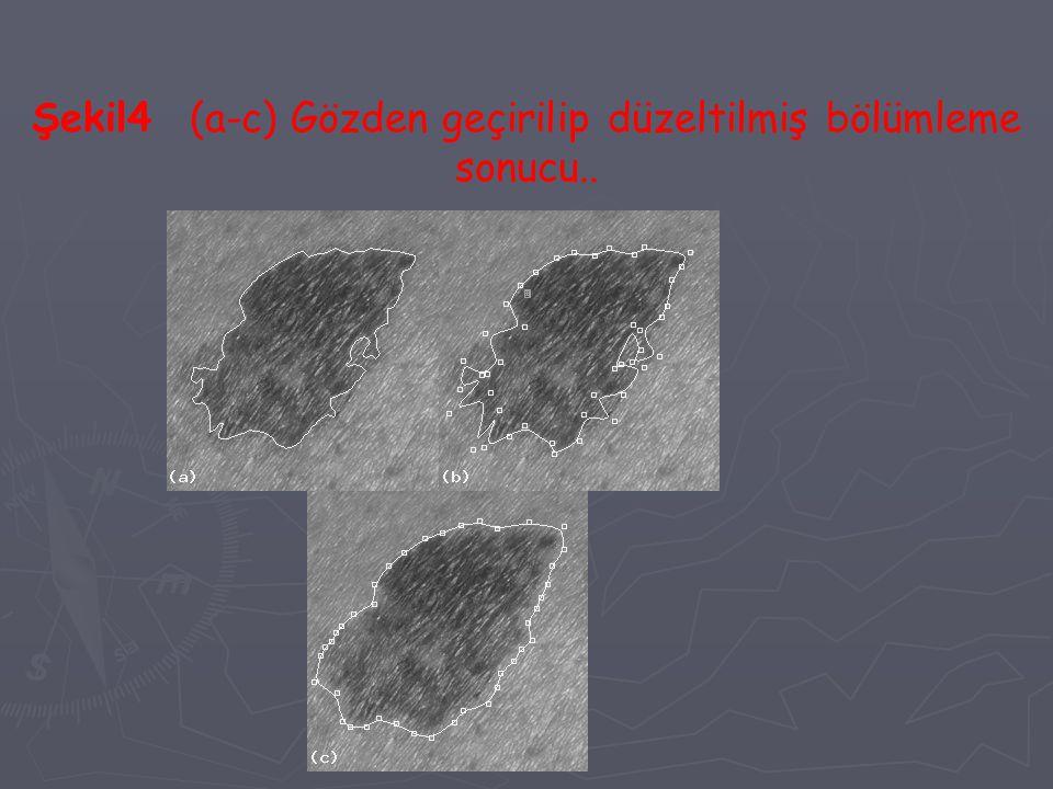 Şekil4 (a-c) Gözden geçirilip düzeltilmiş bölümleme sonucu..