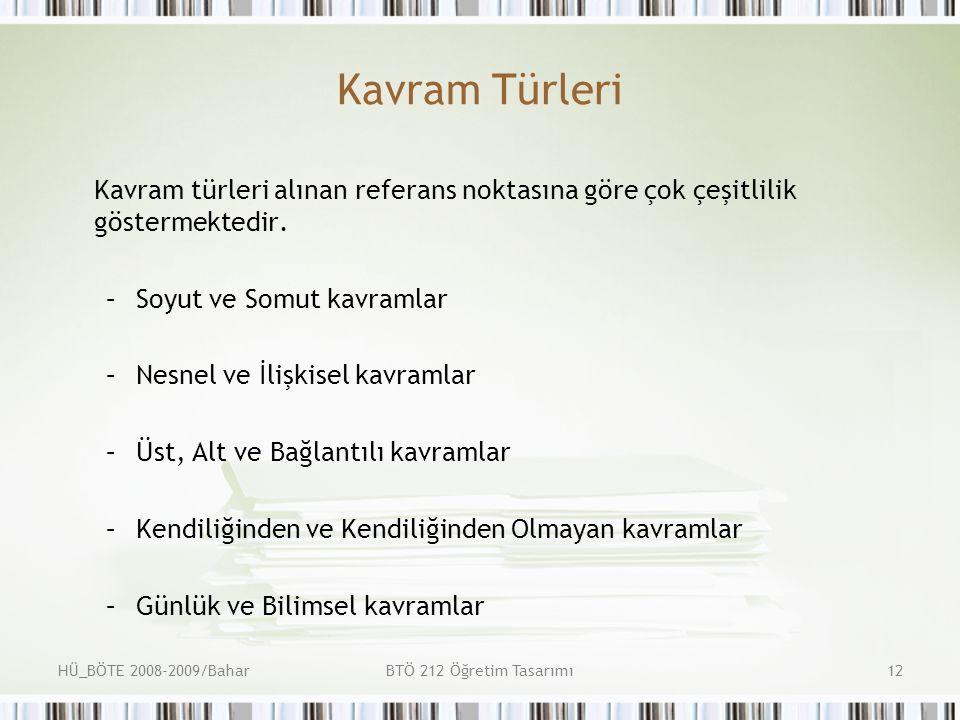 HÜ_BÖTE 2008-2009/BaharBTÖ 212 Öğretim Tasarımı12 Kavram Türleri Kavram türleri alınan referans noktasına göre çok çeşitlilik göstermektedir.