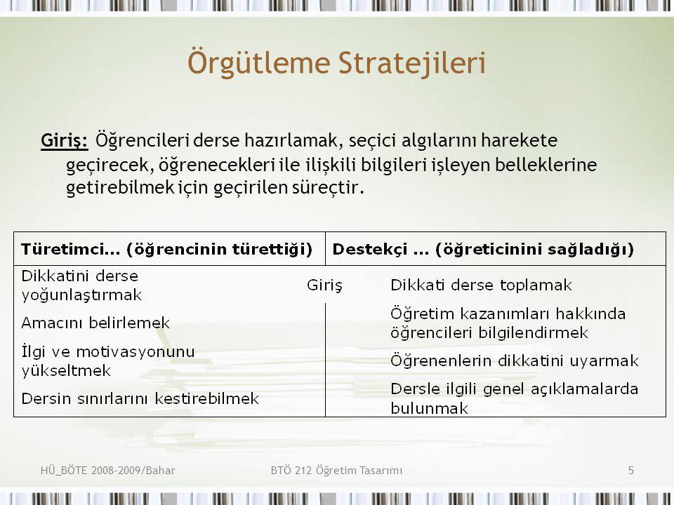HÜ_BÖTE 2008-2009/BaharBTÖ 212 Öğretim Tasarımı6 Örgütleme Stratejileri Kurgu (Kuruluş): Dikkati derse toplama, öğretim kazanımları hakkında öğrencileri bilgilendirme, öğrenenlerin dikkatini uyarma, dersle ilgili genel açıklamalarda bulunma aşamalarını içeren bir süreçtir.