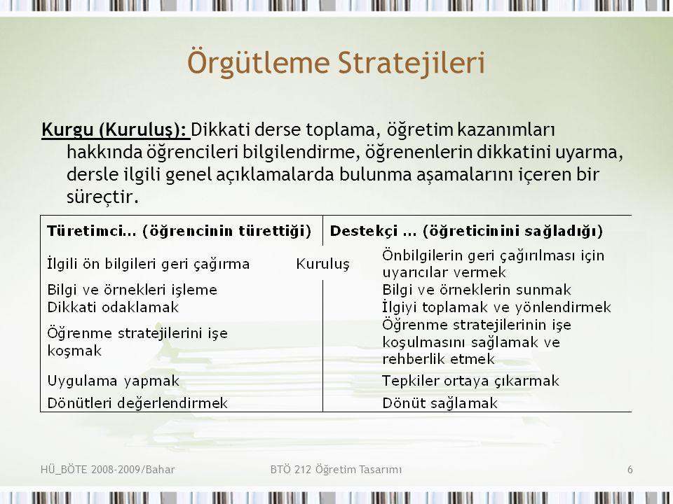 HÜ_BÖTE 2008-2009/BaharBTÖ 212 Öğretim Tasarımı7 Örgütleme Stratejileri Özet (Sonuç): Bu aşamada öğrenciler bilgilerini ayrıntılandırma ve düzenlendirme fırsatı bulmaktadır.