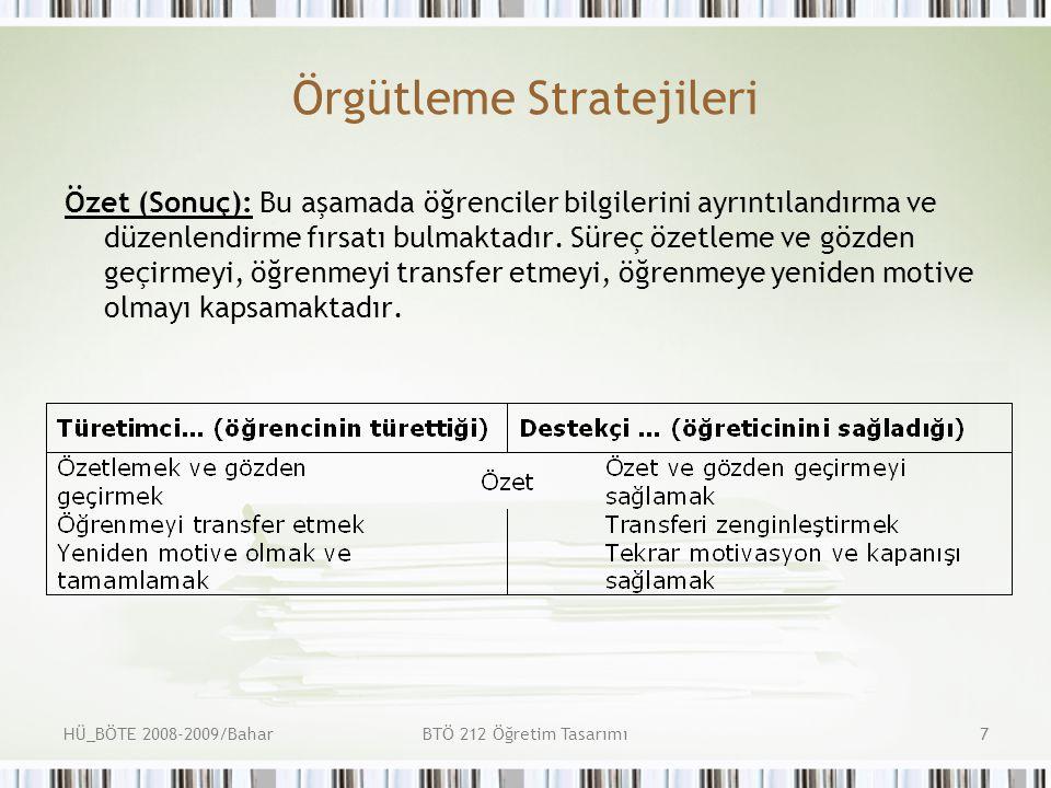 HÜ_BÖTE 2008-2009/BaharBTÖ 212 Öğretim Tasarımı8 Örgütleme Stratejileri Değerlendirme: Bu bölümün amacı öğrenenlerin dersin kazanımlarını edinip edinmediğinin değerlendirilmesidir.