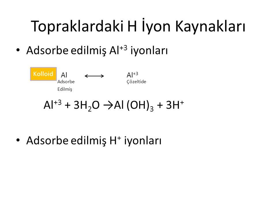 Topraklardaki H İyon Kaynakları Adsorbe edilmiş Al +3 iyonları Al Al +3 AdsorbeÇözeltide Edilmiş Al +3 + 3H 2 O →Al (OH) 3 + 3H + Adsorbe edilmiş H + iyonları Kolloid