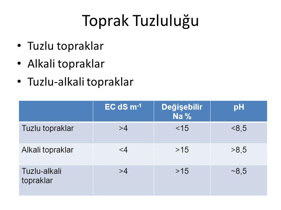 Toprak Tuzluluğu Tuzlu topraklar Alkali topraklar Tuzlu-alkali topraklar EC dS m -1 Değişebilir Na % pH Tuzlu topraklar>4<15<8,5 Alkali topraklar<4>15>8,5 Tuzlu-alkali topraklar >4>15~8,5