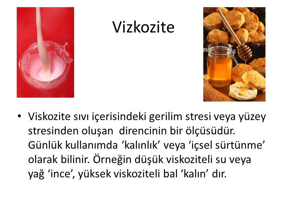 Vizkozite Viskozite sıvı içerisindeki gerilim stresi veya yüzey stresinden oluşan direncinin bir ölçüsüdür.