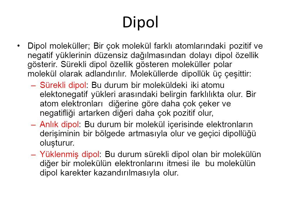 Dipol Dipol moleküller; Bir çok molekül farklı atomlarındaki pozitif ve negatif yüklerinin düzensiz dağılmasından dolayı dipol özellik gösterir.