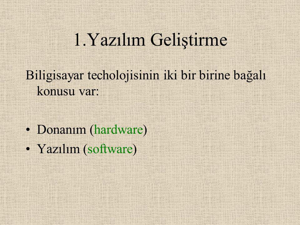 1.Yazılım Geliştirme Biligisayar techolojisinin iki bir birine bağalı konusu var: Donanım (hardware) Yazılım (software)