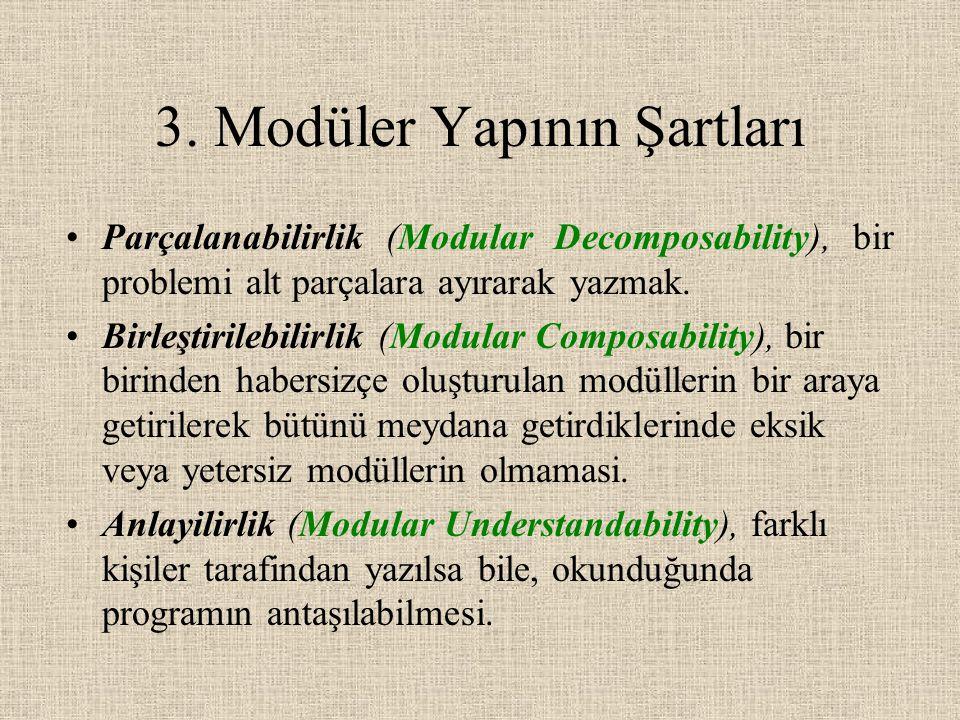 3. Modüler Yapının Şartları Parçalanabilirlik (Modular Decomposability), bir problemi alt parçalara ayırarak yazmak. Birleştirilebilirlik (Modular Com