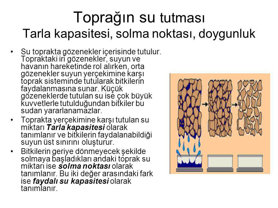 Toprağın su tutması Tarla kapasitesi, solma noktası, doygunluk Su toprakta gözenekler içerisinde tutulur.