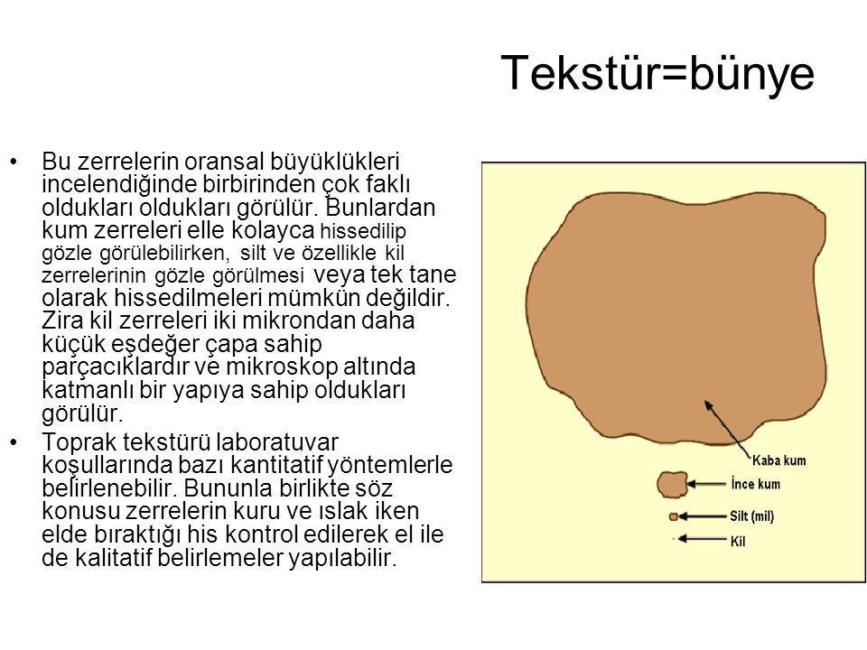 Bünyenin (tekstür) Önemi Bir toprak kütlesi içerisindeki kum(2-0.5 mm), silt (0.5- 0.002 mm) ve kil (0.002 mm den küçük) gruplarının toprak sistemindeki etkileri ve görevleri oldukça farklıdır.
