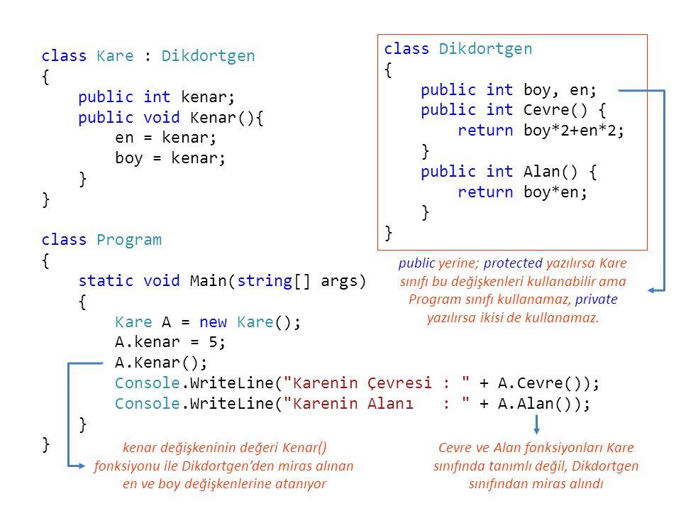 class Kare : Dikdortgen { public int kenar; public void Kenar(){ en = kenar; boy = kenar; } class Program { static void Main(string[] args) { Kare A =