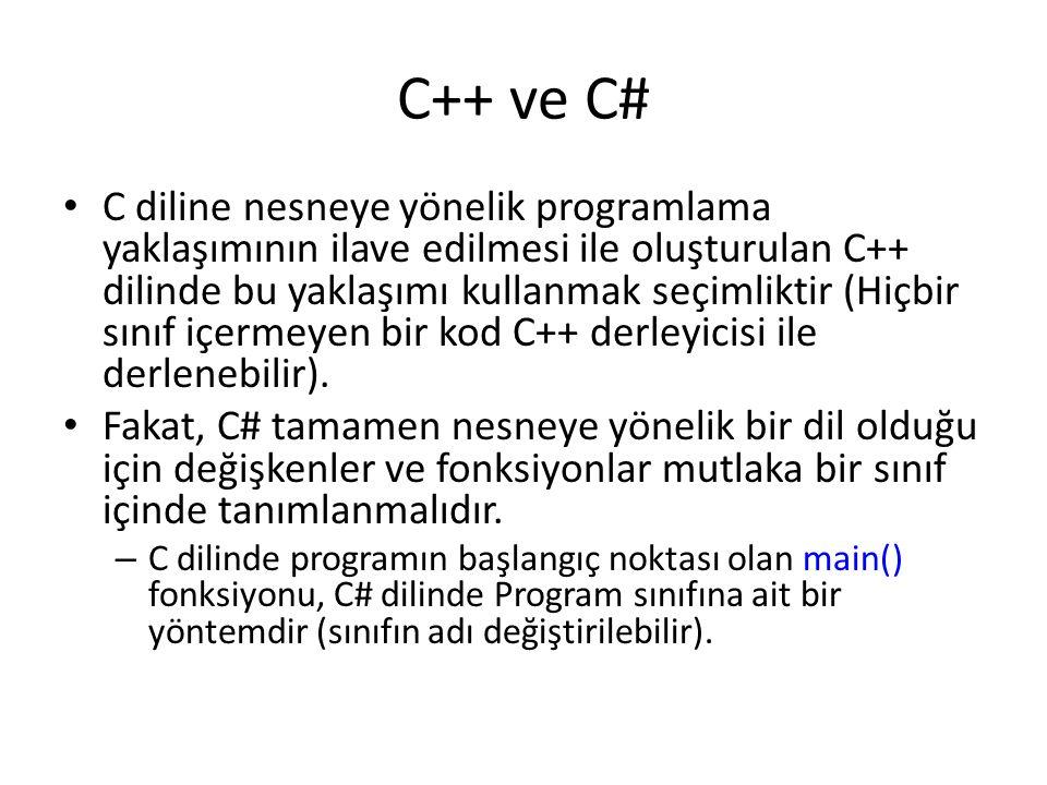 C++ ve C# C diline nesneye yönelik programlama yaklaşımının ilave edilmesi ile oluşturulan C++ dilinde bu yaklaşımı kullanmak seçimliktir (Hiçbir sını