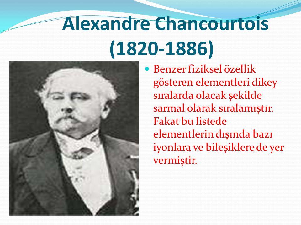 Alexandre Chancourtois (1820-1886) Benzer fiziksel özellik gösteren elementleri dikey sıralarda olacak şekilde sarmal olarak sıralamıştır. Fakat bu li