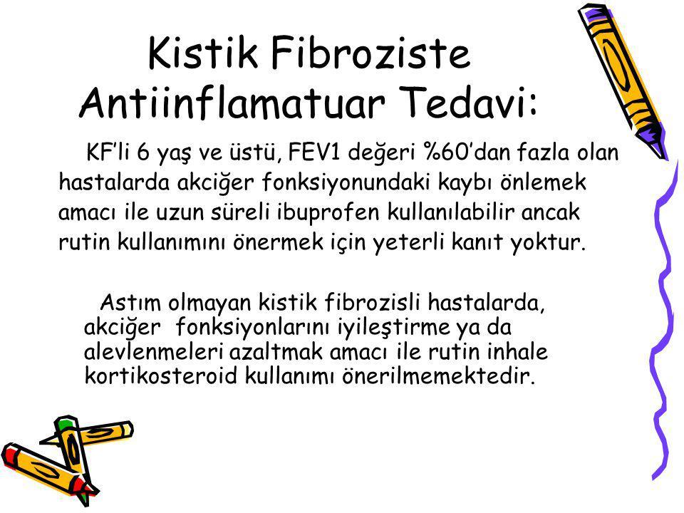 Kistik Fibroziste Antiinflamatuar Tedavi: KF'li 6 yaş ve üstü, FEV1 değeri %60'dan fazla olan hastalarda akciğer fonksiyonundaki kaybı önlemek amacı ile uzun süreli ibuprofen kullanılabilir ancak rutin kullanımını önermek için yeterli kanıt yoktur.