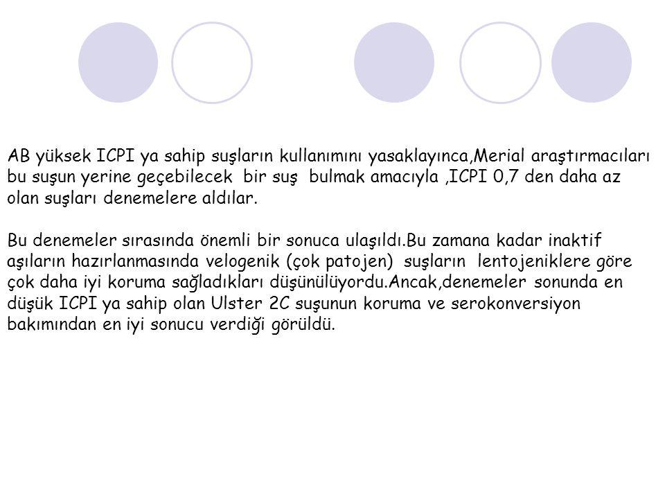 AB yüksek ICPI ya sahip suşların kullanımını yasaklayınca,Merial araştırmacıları bu suşun yerine geçebilecek bir suş bulmak amacıyla,ICPI 0,7 den daha az olan suşları denemelere aldılar.