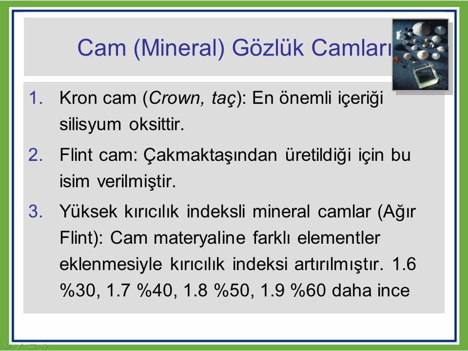 Cam (Mineral) Gözlük Camları 1.Kron cam (Crown, taç): En önemli içeriği silisyum oksittir. 2.Flint cam: Çakmaktaşından üretildiği için bu isim verilmi