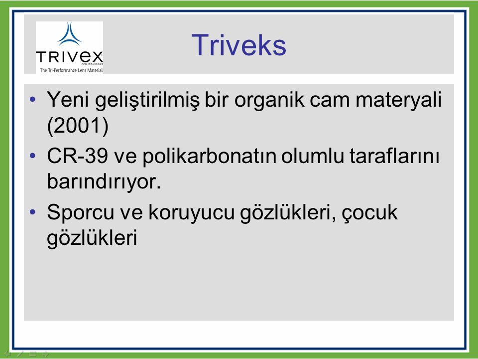 Triveks Yeni geliştirilmiş bir organik cam materyali (2001) CR-39 ve polikarbonatın olumlu taraflarını barındırıyor. Sporcu ve koruyucu gözlükleri, ço
