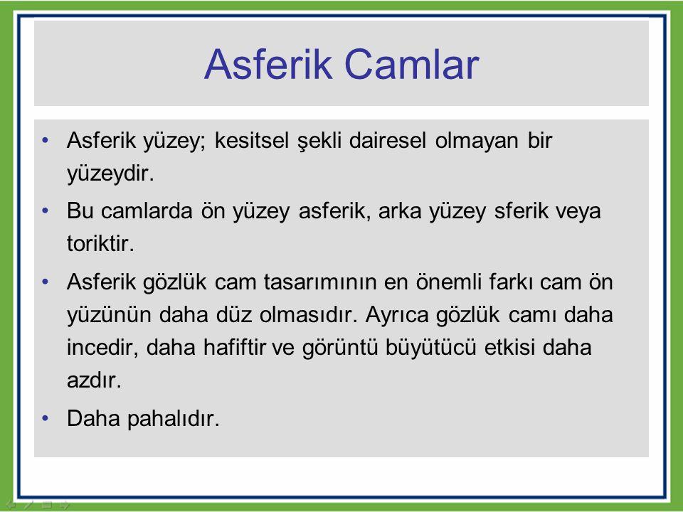 Asferik Camlar Asferik yüzey; kesitsel şekli dairesel olmayan bir yüzeydir. Bu camlarda ön yüzey asferik, arka yüzey sferik veya toriktir. Asferik göz