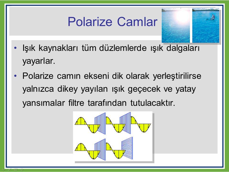 Polarize Camlar Işık kaynakları tüm düzlemlerde ışık dalgaları yayarlar. Polarize camın ekseni dik olarak yerleştirilirse yalnızca dikey yayılan ışık