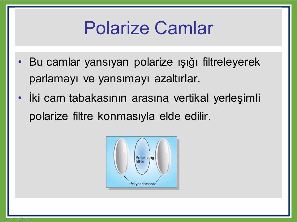 Polarize Camlar Bu camlar yansıyan polarize ışığı filtreleyerek parlamayı ve yansımayı azaltırlar. İki cam tabakasının arasına vertikal yerleşimli pol