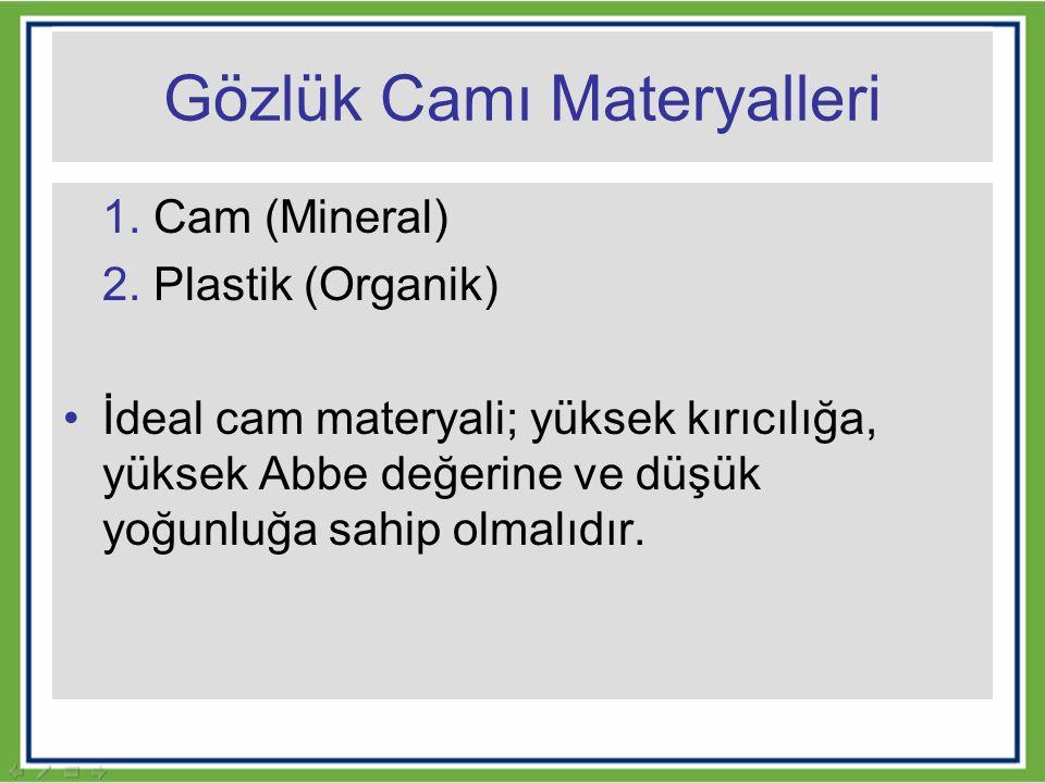 Gözlük Camı Materyalleri 1. Cam (Mineral) 2. Plastik (Organik) İdeal cam materyali; yüksek kırıcılığa, yüksek Abbe değerine ve düşük yoğunluğa sahip o