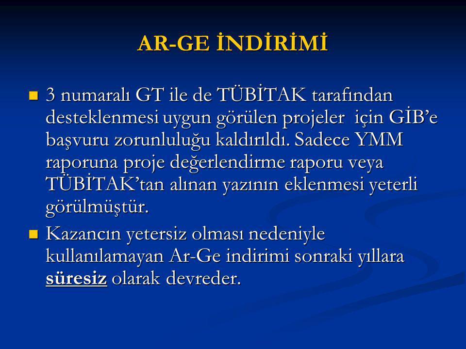AR-GE İNDİRİMİ 3 numaralı GT ile de TÜBİTAK tarafından desteklenmesi uygun görülen projeler için GİB'e başvuru zorunluluğu kaldırıldı.