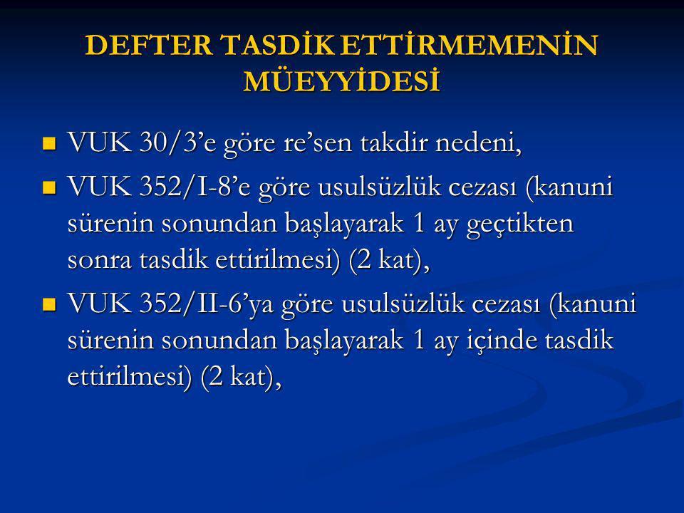 DEFTER TASDİK ETTİRMEMENİN MÜEYYİDESİ VUK 30/3'e göre re'sen takdir nedeni, VUK 30/3'e göre re'sen takdir nedeni, VUK 352/I-8'e göre usulsüzlük cezası (kanuni sürenin sonundan başlayarak 1 ay geçtikten sonra tasdik ettirilmesi) (2 kat), VUK 352/I-8'e göre usulsüzlük cezası (kanuni sürenin sonundan başlayarak 1 ay geçtikten sonra tasdik ettirilmesi) (2 kat), VUK 352/II-6'ya göre usulsüzlük cezası (kanuni sürenin sonundan başlayarak 1 ay içinde tasdik ettirilmesi) (2 kat), VUK 352/II-6'ya göre usulsüzlük cezası (kanuni sürenin sonundan başlayarak 1 ay içinde tasdik ettirilmesi) (2 kat),