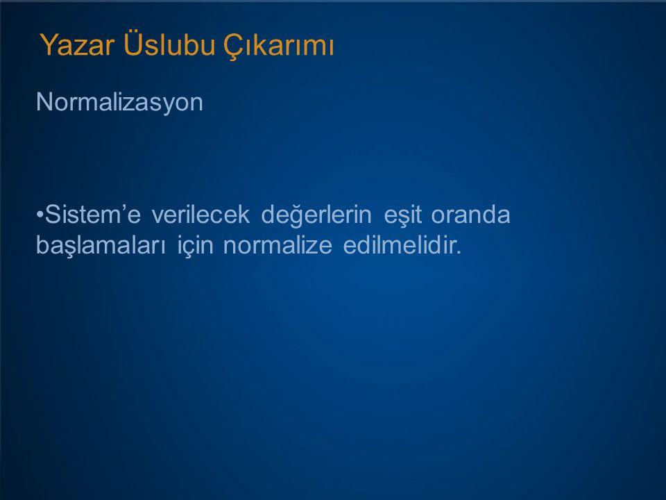 Yazar Üslubu Çıkarımı Normalizasyon Sistem'e verilecek değerlerin eşit oranda başlamaları için normalize edilmelidir.