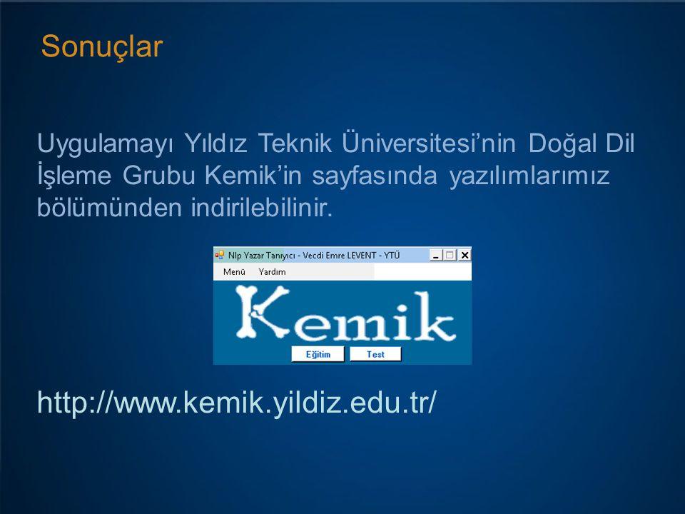 Sonuçlar Uygulamayı Yıldız Teknik Üniversitesi'nin Doğal Dil İşleme Grubu Kemik'in sayfasında yazılımlarımız bölümünden indirilebilinir.