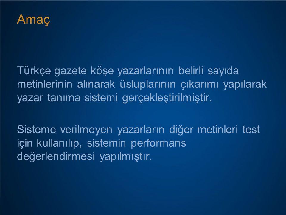 Amaç Türkçe gazete köşe yazarlarının belirli sayıda metinlerinin alınarak üsluplarının çıkarımı yapılarak yazar tanıma sistemi gerçekleştirilmiştir. S
