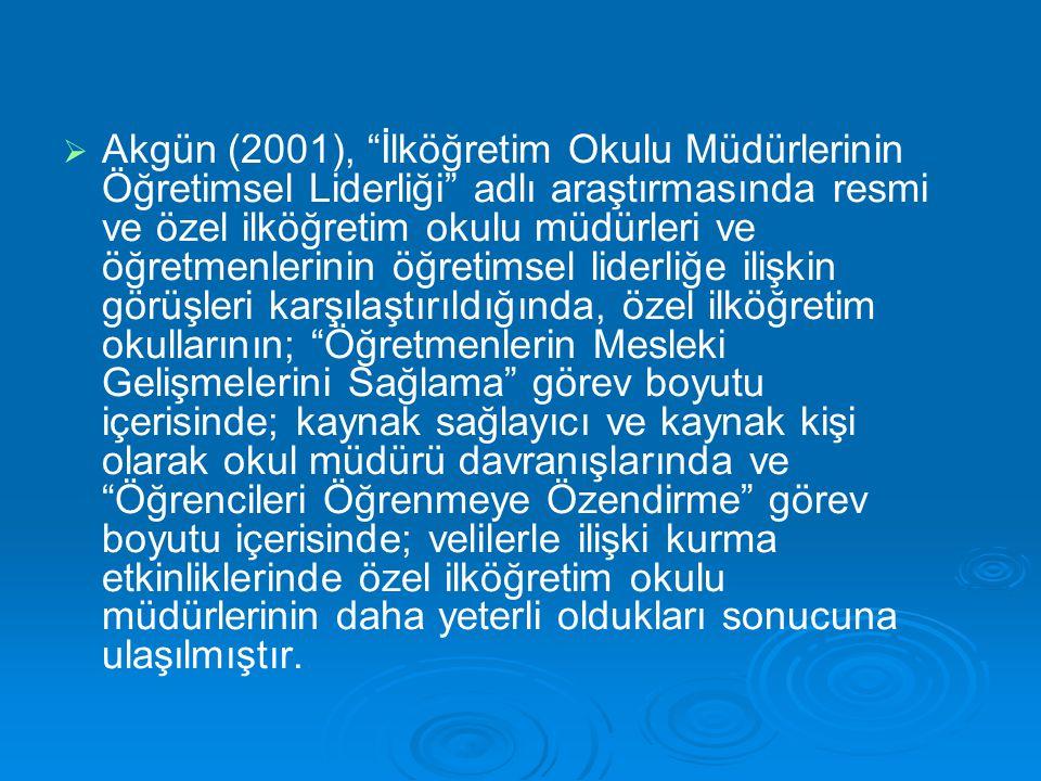 """  Akgün (2001), """"İlköğretim Okulu Müdürlerinin Öğretimsel Liderliği"""" adlı araştırmasında resmi ve özel ilköğretim okulu müdürleri ve öğretmenlerinin"""
