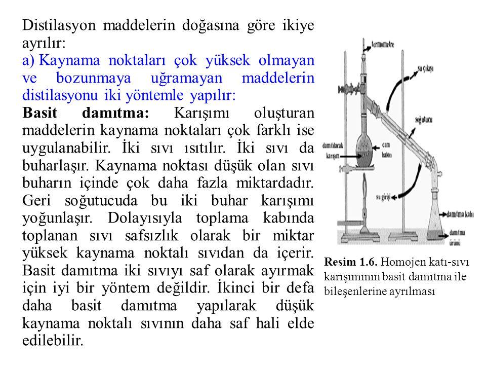 Distilasyon maddelerin doğasına göre ikiye ayrılır: a) Kaynama noktaları çok yüksek olmayan ve bozunmaya uğramayan maddelerin distilasyonu iki yönteml