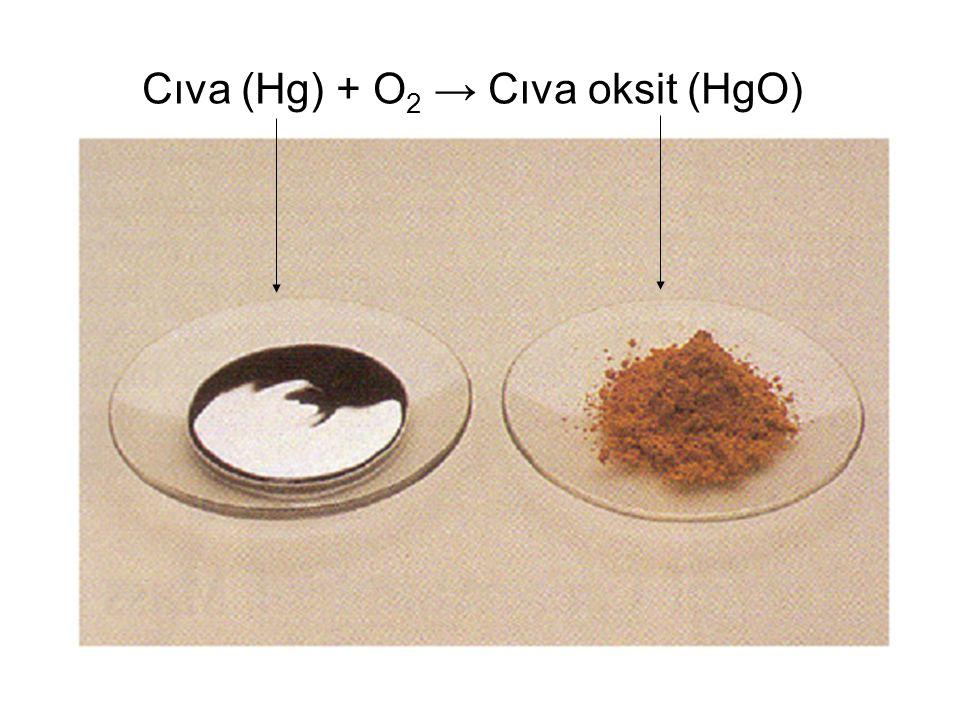 Cıva (Hg) + O 2 → Cıva oksit (HgO)