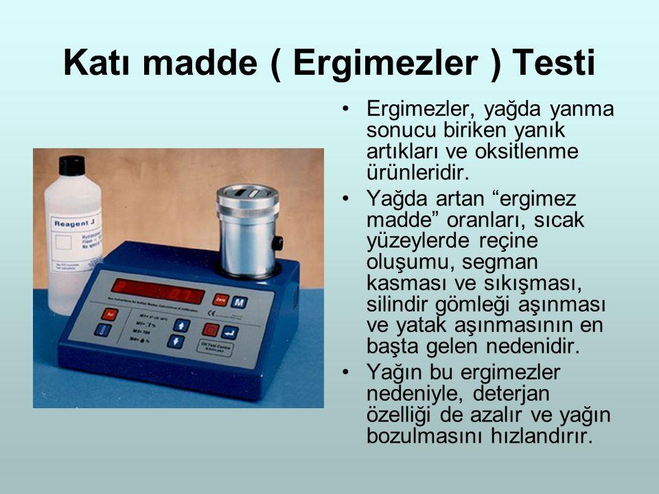 """Katı madde ( Ergimezler ) Testi Ergimezler, yağda yanma sonucu biriken yanık artıkları ve oksitlenme ürünleridir. Yağda artan """"ergimez madde"""" oranları"""