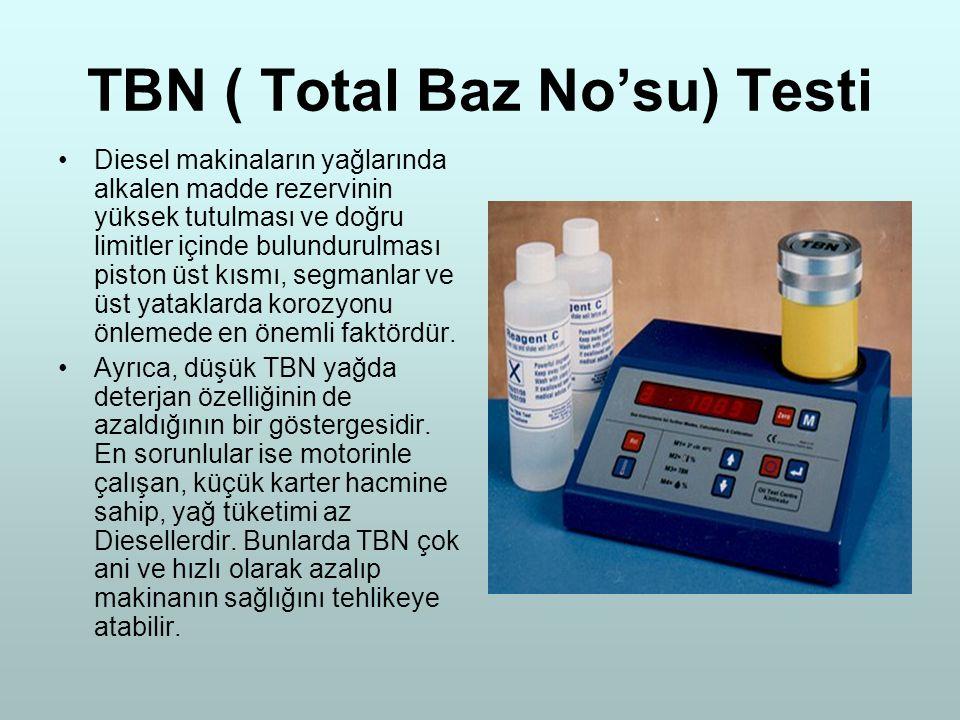 TBN ( Total Baz No'su) Testi Diesel makinaların yağlarında alkalen madde rezervinin yüksek tutulması ve doğru limitler içinde bulundurulması piston üs