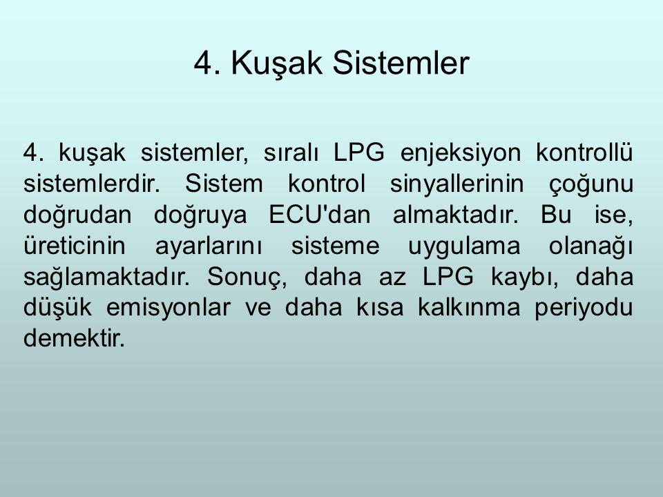4. Kuşak Sistemler 4. kuşak sistemler, sıralı LPG enjeksiyon kontrollü sistemlerdir. Sistem kontrol sinyallerinin çoğunu doğrudan doğruya ECU'dan alma
