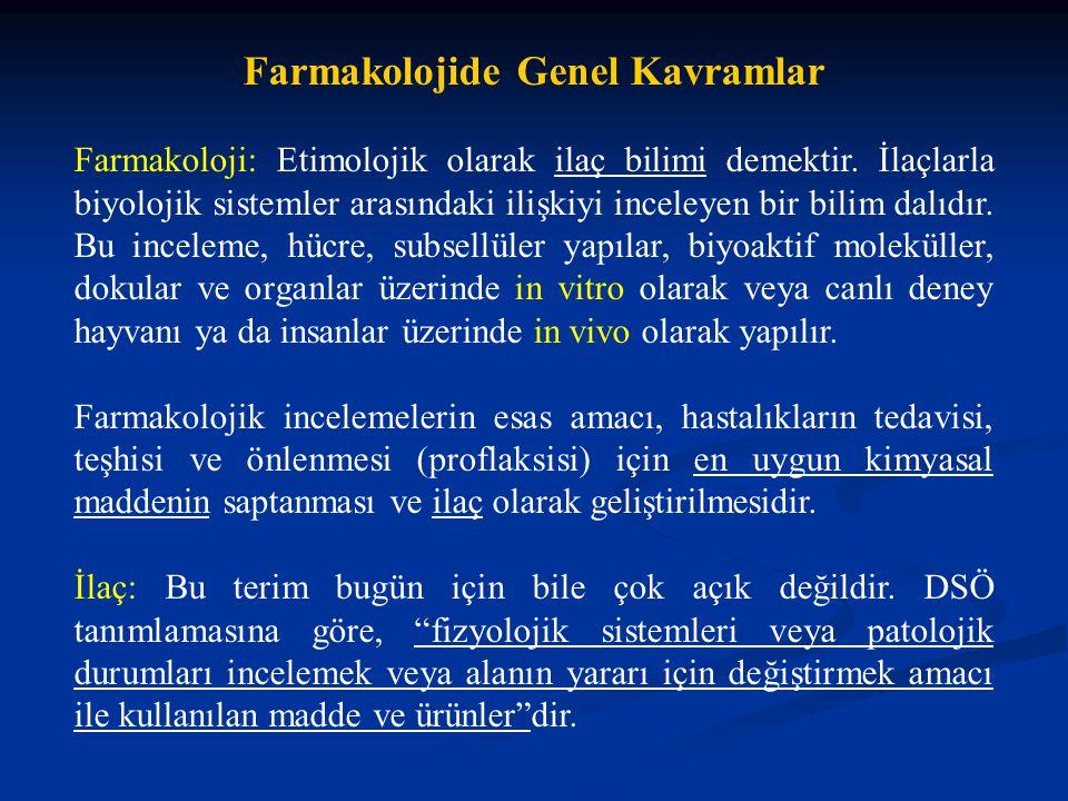 Farmakolojide Genel Kavramlar Farmakoloji: Etimolojik olarak ilaç bilimi demektir. İlaçlarla biyolojik sistemler arasındaki ilişkiyi inceleyen bir bil