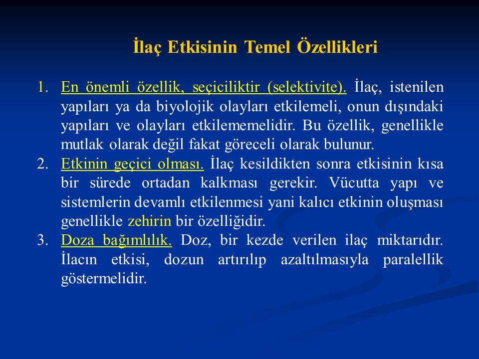 İlaç Etkisinin Temel Özellikleri 1.En önemli özellik, seçiciliktir (selektivite). İlaç, istenilen yapıları ya da biyolojik olayları etkilemeli, onun d