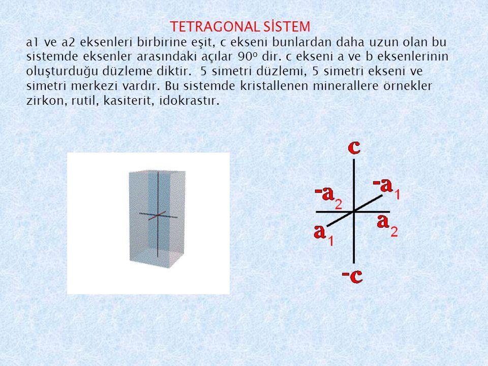 TETRAGONAL SİSTEM a1 ve a2 eksenleri birbirine eşit, c ekseni bunlardan daha uzun olan bu sistemde eksenler arasındaki açılar 90 o dir.