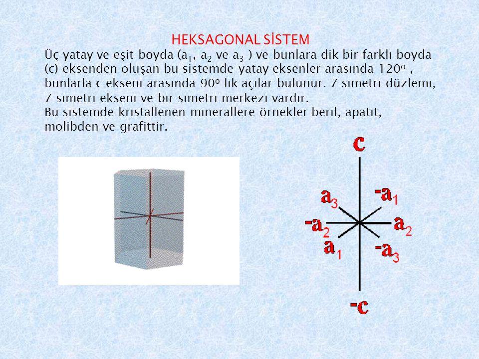 HEKSAGONAL SİSTEM Üç yatay ve eşit boyda (a 1, a 2 ve a 3 ) ve bunlara dik bir farklı boyda (c) eksenden oluşan bu sistemde yatay eksenler arasında 120 o, bunlarla c ekseni arasında 90 o lik açılar bulunur.