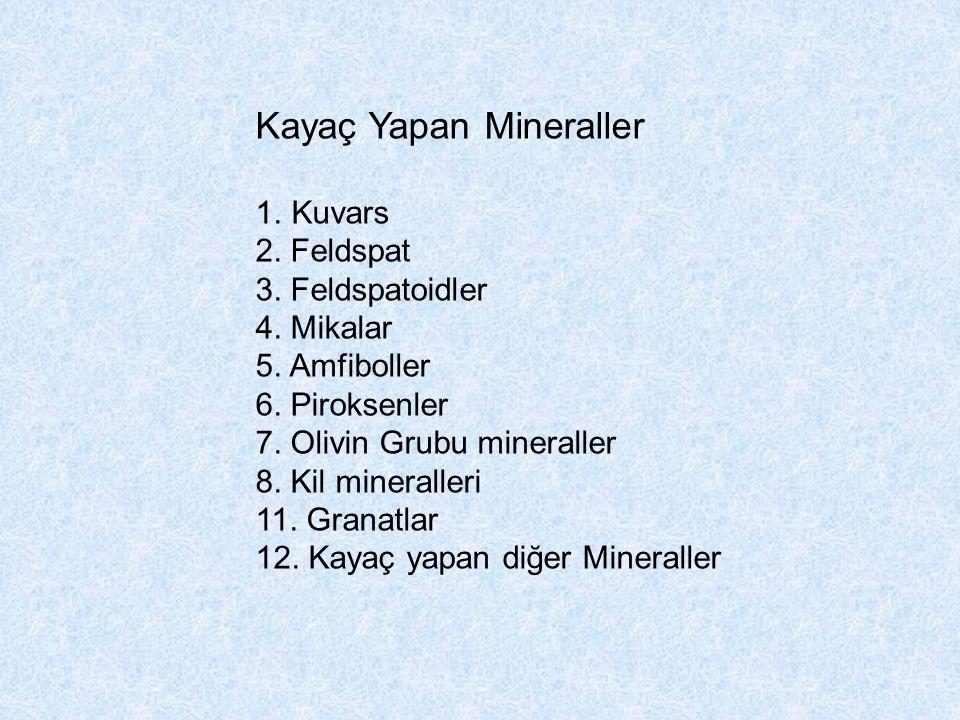 Kayaç Yapan Mineraller 1.Kuvars 2. Feldspat 3. Feldspatoidler 4. Mikalar 5. Amfiboller 6. Piroksenler 7. Olivin Grubu mineraller 8. Kil mineralleri 11