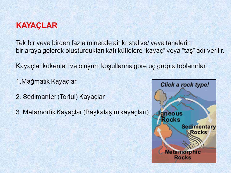 """KAYAÇLAR Tek bir veya birden fazla minerale ait kristal ve/ veya tanelerin bir araya gelerek oluşturdukları katı kütlelere """"kayaç"""" veya """"taş"""" adı veri"""
