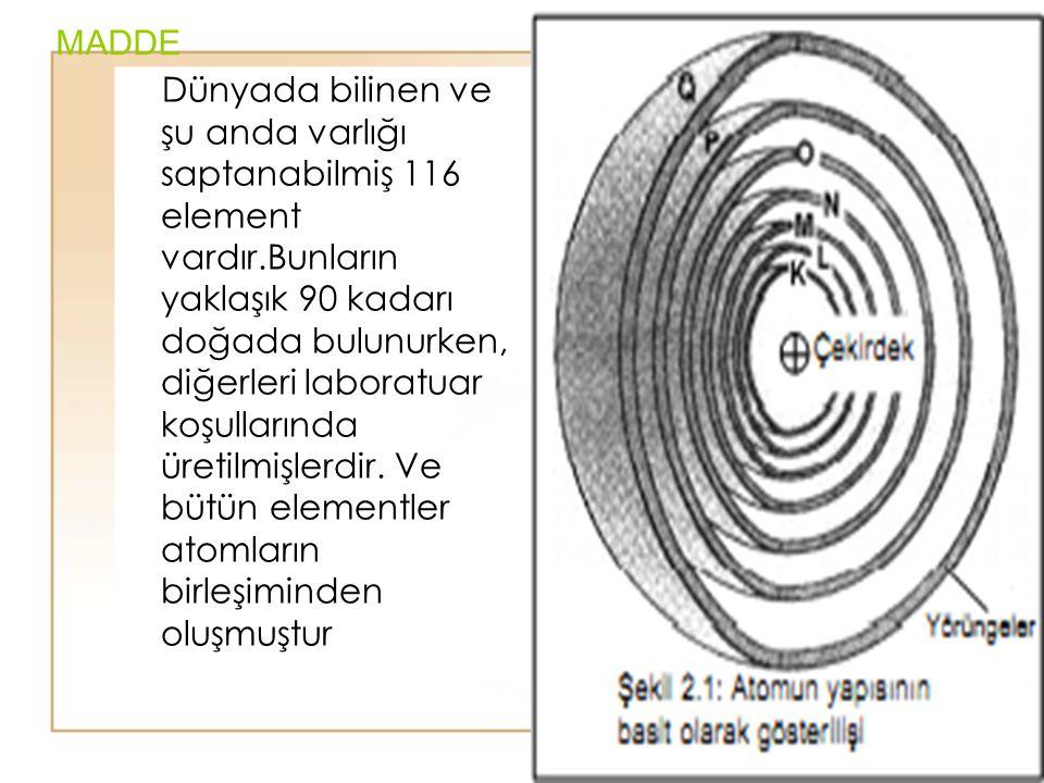 13 MADDE Dünyada bilinen ve şu anda varlığı saptanabilmiş 116 element vardır.Bunların yaklaşık 90 kadarı doğada bulunurken, diğerleri laboratuar koşul