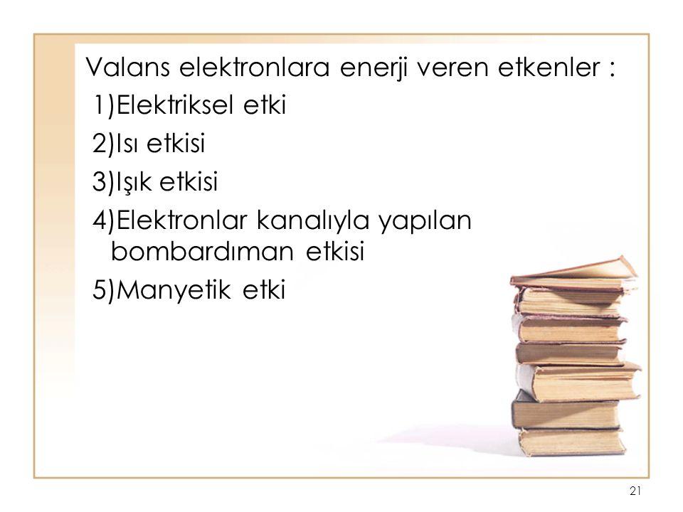 21 Valans elektronlara enerji veren etkenler : 1)Elektriksel etki 2)Isı etkisi 3)Işık etkisi 4)Elektronlar kanalıyla yapılan bombardıman etkisi 5)Many