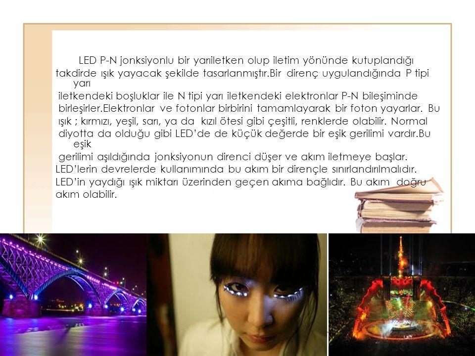 59 LED P-N jonksiyonlu bir yarıiletken olup iletim yönünde kutuplandığı takdirde ışık yayacak şekilde tasarlanmıştır.Bir direnç uygulandığında P tipi