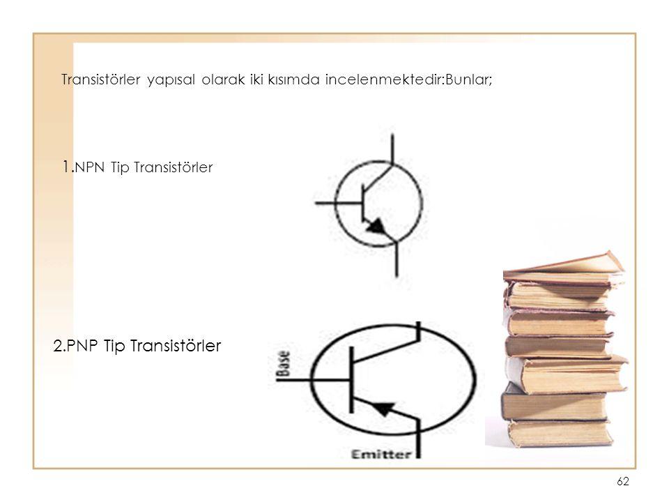 62 Transistörler yapısal olarak iki kısımda incelenmektedir:Bunlar; 1. NPN Tip Transistörler 2.PNP Tip Transistörler