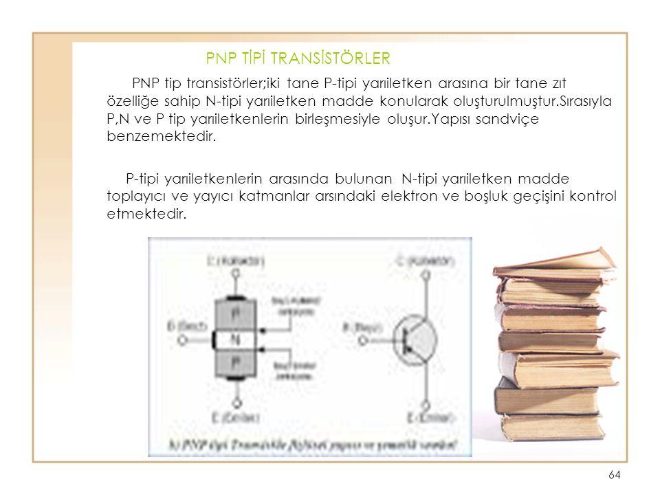 64 PNP TİPİ TRANSİSTÖRLER PNP tip transistörler;iki tane P-tipi yarıiletken arasına bir tane zıt özelliğe sahip N-tipi yarıiletken madde konularak olu