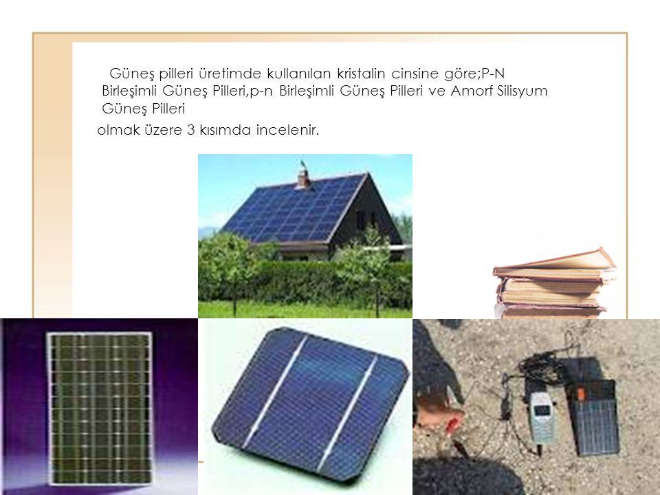 76 Güneş pilleri üretimde kullanılan kristalin cinsine göre;P-N Birleşimli Güneş Pilleri,p-n Birleşimli Güneş Pilleri ve Amorf Silisyum Güneş Pilleri