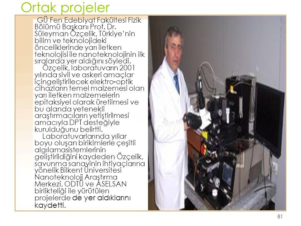 81 Ortak projeler GÜ Fen Edebiyat Fakültesi Fizik Bölümü Başkanı Prof. Dr. Süleyman Özçelik, Türkiye'nin bilim ve teknolojideki önceliklerinde yarı il